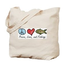 Peace, Love, Fishing Tote Bag