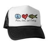 Peace, Love, Fishing Trucker Hat