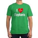 I Love Elephants Men's Fitted T-Shirt (dark)