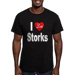 I Love Storks Men's Fitted T-Shirt (dark)
