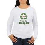 Kiss Me I Recyle Women's Long Sleeve T-Shirt