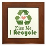 Kiss Me I Recyle Framed Tile