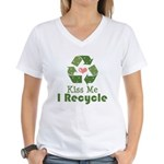 Kiss Me I Recyle Women's V-Neck T-Shirt