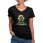 Kiss Me I Recyle Women's V-Neck Dark T-Shirt