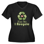 Kiss Me I Recyle Women's Plus Size V-Neck Dark T-S