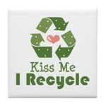 Kiss Me I Recyle Tile Coaster