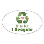 Kiss Me I Recyle Oval Sticker (10 pk)