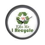 Kiss Me I Recyle Wall Clock