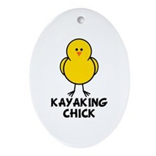 Kayaking Chick Oval Ornament