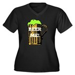 Beer Me! Women's Plus Size V-Neck Dark T-Shirt