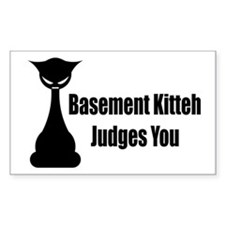 Basement Kitteh Judges You Rectangle Decal