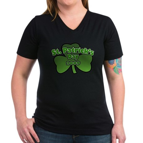 St. Patrick's Day 2009 Women's V-Neck Dark T-Shirt
