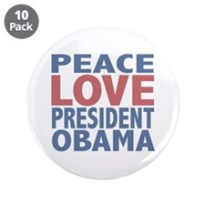 "Peace Love President Obama 3.5"" Button (10 pack)"