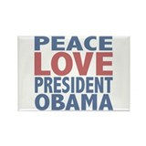 Peace Love President Obama Rectangle Magnet (100 p
