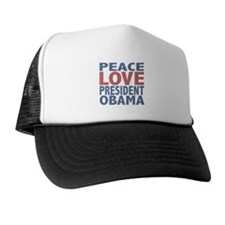 Peace Love President Obama Trucker Hat