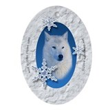 White wolf Oval Ornaments