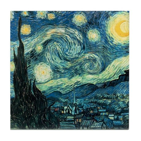 Van Gogh Ceramic Art Tile Coaster Starry Night