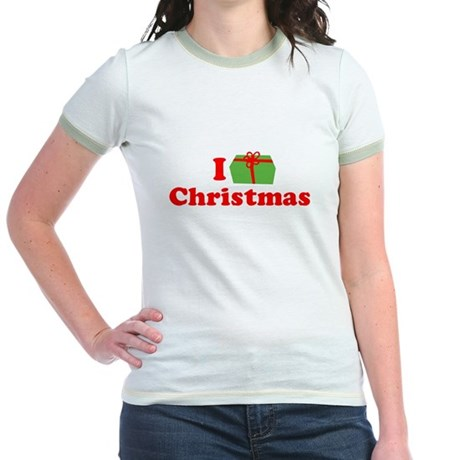 I Love [Present] Christmas Jr Ringer T-Shirt