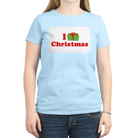 I Love [Present] Christmas Womens Pink T-Shirt