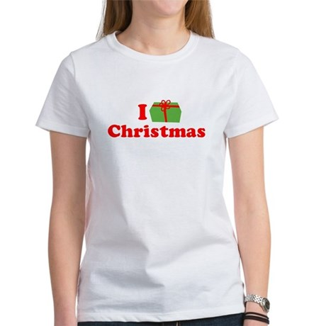 I Love [Present] Christmas Womens T-Shirt