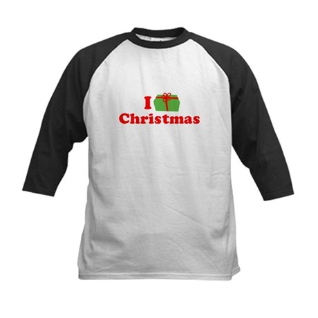 I Love [Present] Christmas Kids Baseball Jersey