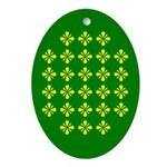 Yellow Flowers on Green Oval Ornament