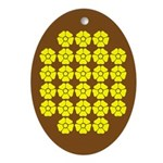 Yellow Flowers on Brown Oval Ornament