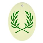 Green Laurel On Yellow Oval Ornament