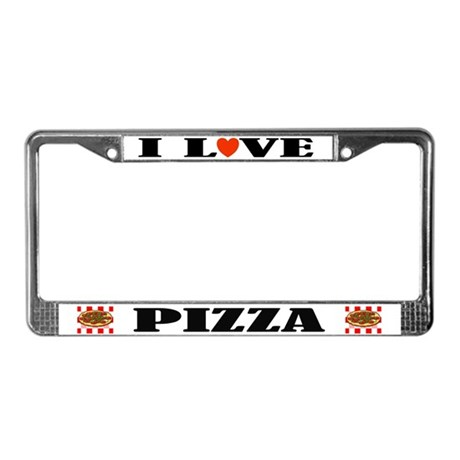 I Love Pizza License Plate Frame