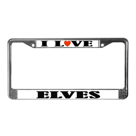 I Love Elves License Plate Frame