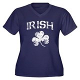Irish Shamrock Women's Plus Size V-Neck Dark T-Shi