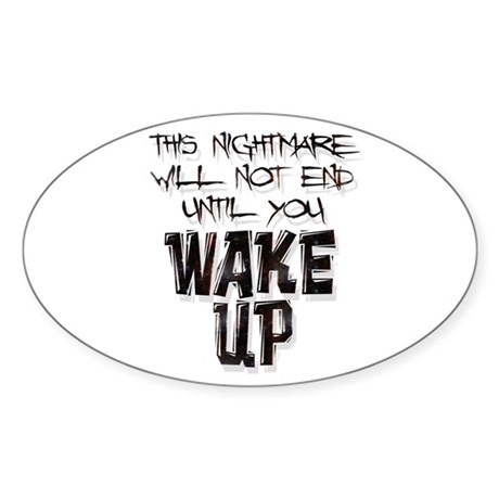 Wake Up Oval Sticker