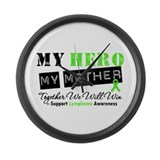 Lymphoma Hero Mother Large Wall Clock