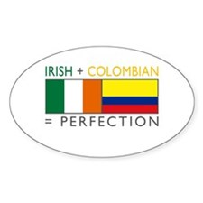 Irish Colombian heritage flag Oval Sticker (10 pk)