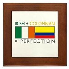 Irish Colombian heritage flag Framed Tile