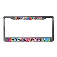 Peace Love Armed Forces License Plate Frame