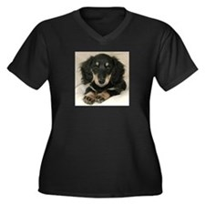 Long Haired Puppy Women's Plus Size V-Neck Dark T-