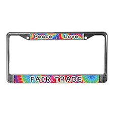 Peace Love Fair Trade License Plate Frame