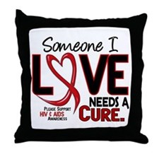 Needs A Cure 2 HIV AIDS Throw Pillow