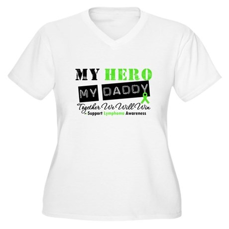 Lymphoma Hero Daddy Women's Plus Size V-Neck T-Shi