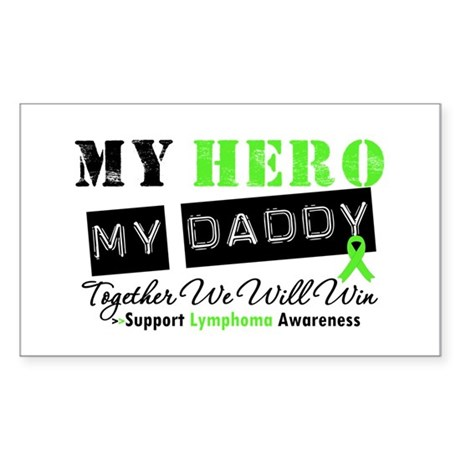 Lymphoma Hero Daddy Rectangle Sticker