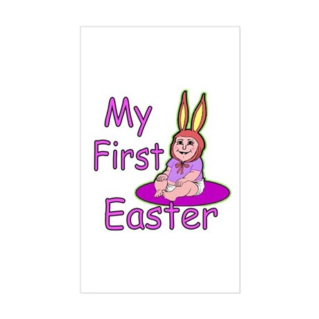 Bunny Baby First Easter Rectangle Sticker