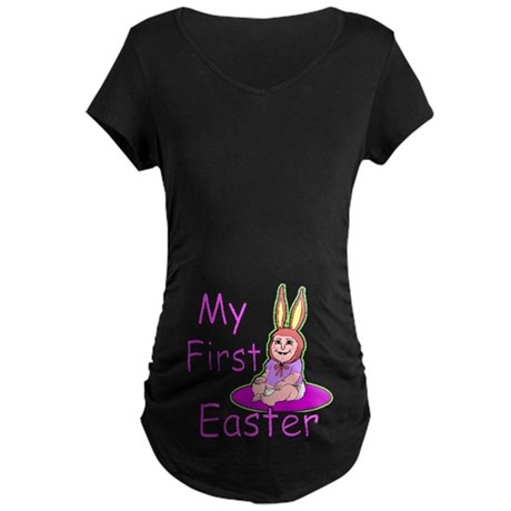 Bunny Baby First Easter Maternity Dark T-Shirt