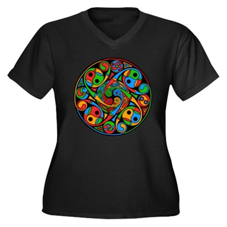 Celtic Stained Glass Spiral Wmn's Plus Dark V-Tee