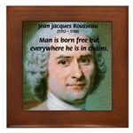 Philosopher Rousseau Framed Tile