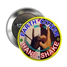 """EARTH CITIZENS HAND-SHAKE 2.25"""" Button (100 pack)"""