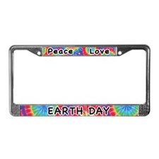 Peace Love Earth Day License Plate Frame