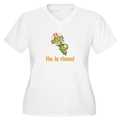 He is Risen Women's Plus Size V-Neck T-Shirt