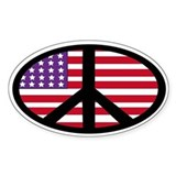 us flag peace Oval Bumper Stickers