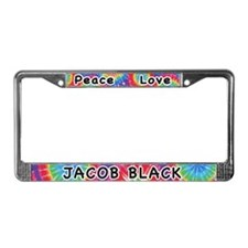 Peace Love Jacob Black License Plate Frame